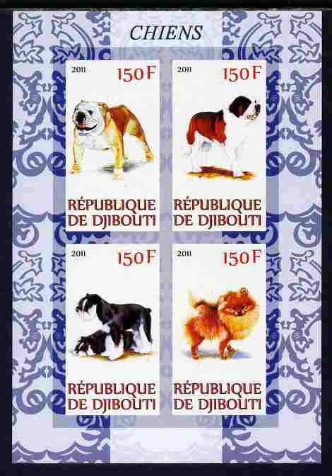 Djibouti 2011 Dogs imperf sheetlet containing 4 values unmounted mint, stamps on dogs