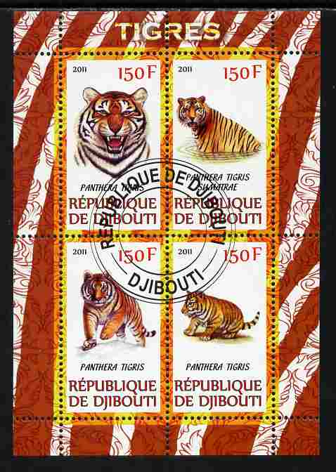 Djibouti 2011 Tigers perf sheetlet containing 4 values cto used