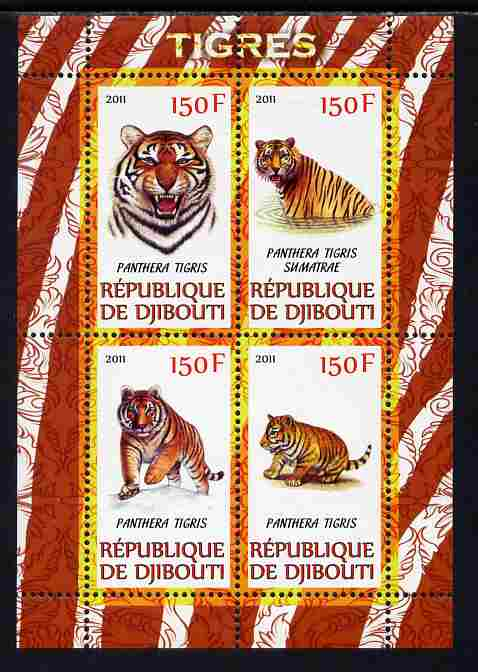 Djibouti 2011 Tigers perf sheetlet containing 4 values unmounted mint