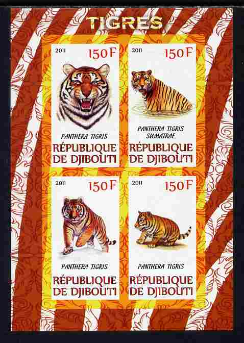 Djibouti 2011 Tigers imperf sheetlet containing 4 values unmounted mint