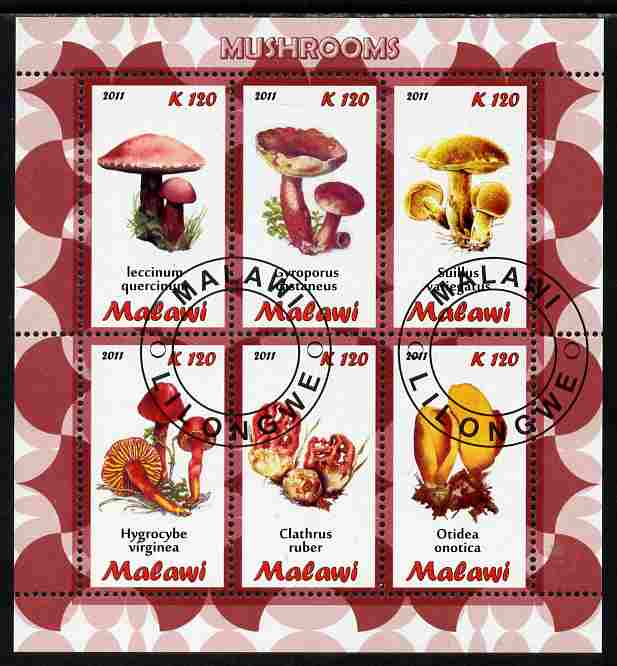 Malawi 2011 Mushrooms perf sheetlet containing 6 values cto used