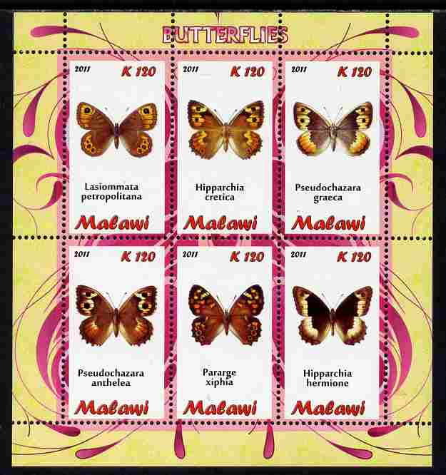 Malawi 2011 Butterflies #1 perf sheetlet containing 6 values unmounted mint