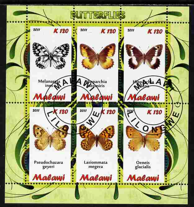 Malawi 2011 Butterflies #2 perf sheetlet containing 6 values cto used