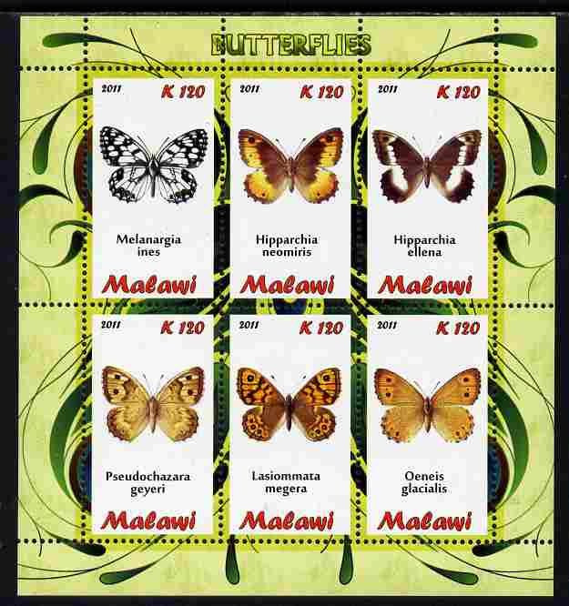 Malawi 2011 Butterflies #2 perf sheetlet containing 6 values unmounted mint, stamps on , stamps on  stamps on butterflies