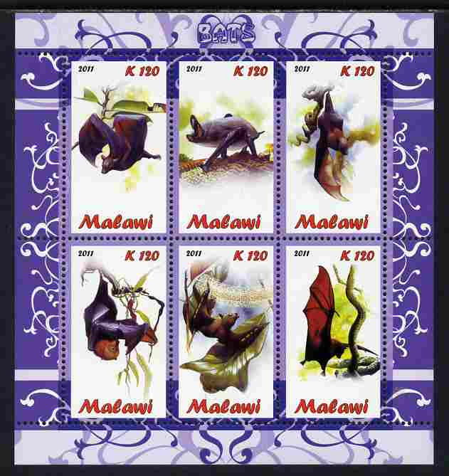 Malawi 2011 Bats perf sheetlet containing 6 values unmounted mint