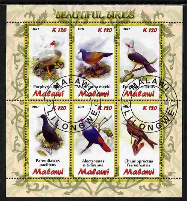 Malawi 2011 Birds perf sheetlet containing 6 values cto used