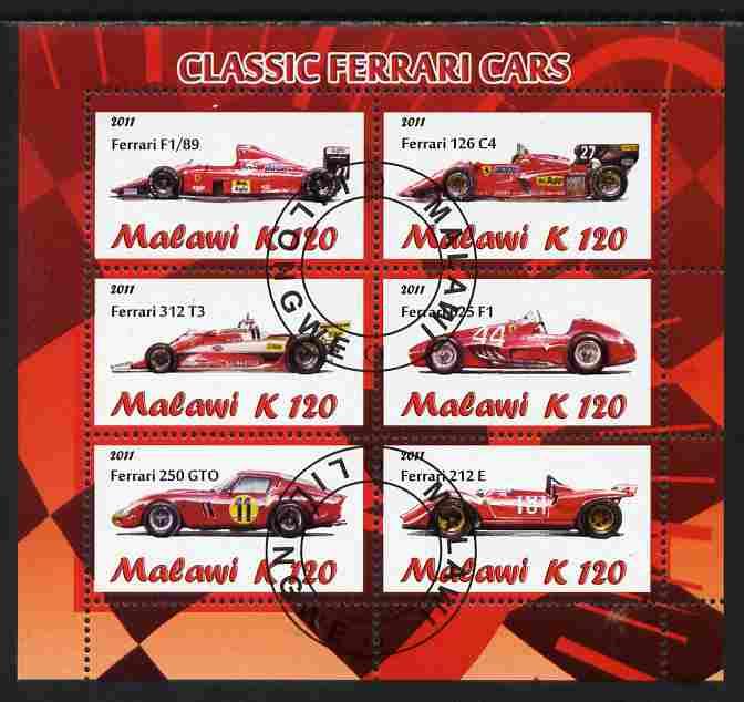 Malawi 2011 Classic Ferrari perf sheetlet containing 6 values cto used