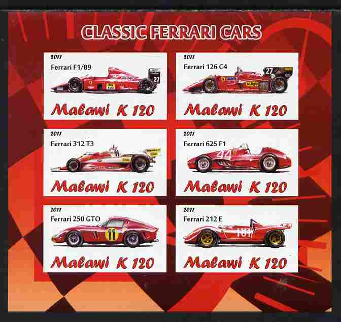 Malawi 2011 Classic Ferrari imperf sheetlet containing 6 values unmounted mint