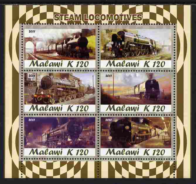 Malawi 2011 Steam Locomotives perf sheetlet containing 6 values unmounted mint