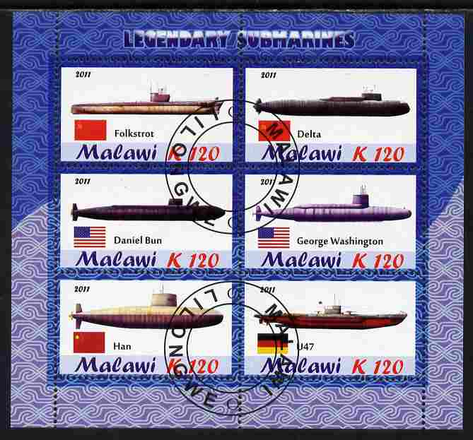 Malawi 2011 Famous Submarines perf sheetlet containing 6 values cto used