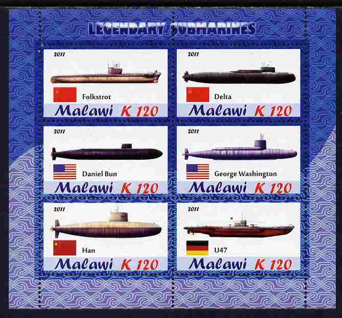 Malawi 2011 Famous Submarines perf sheetlet containing 6 values unmounted mint
