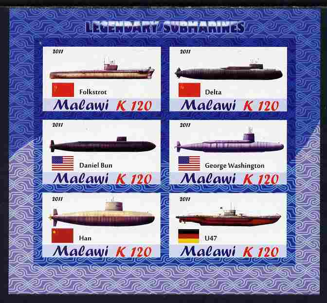 Malawi 2011 Famous Submarines imperf sheetlet containing 6 values unmounted mint