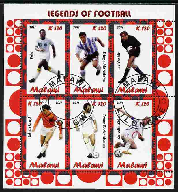 Malawi 2011 Legends of Football perf sheetlet containing 6 values cto used