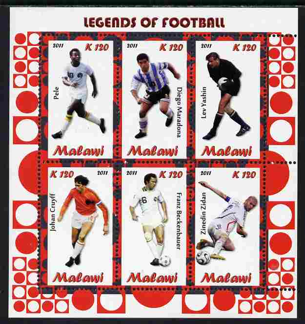 Malawi 2011 Legends of Football perf sheetlet containing 6 values unmounted mint