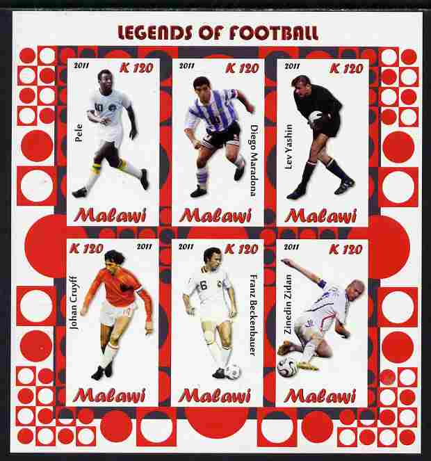 Malawi 2011 Legends of Football imperf sheetlet containing 6 values unmounted mint
