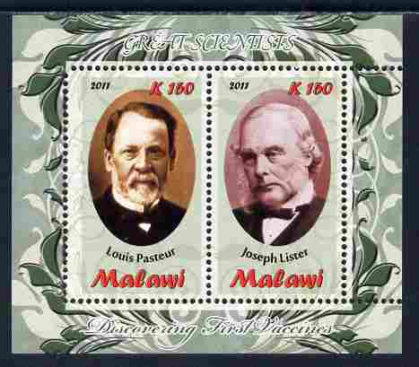 Malawi 2011 Scientists - Pasteur & Lister perf sheetlet containing 2 values unmounted mint, stamps on personalities, stamps on science, stamps on medical