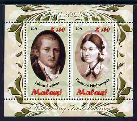 Malawi 2011 Scientists - Nightingale & Jenner perf sheetlet containing 2 values unmounted mint
