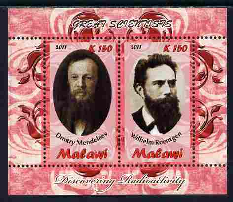Malawi 2011 Scientists - Mendeleev & Roentgen perf sheetlet containing 2 values unmounted mint