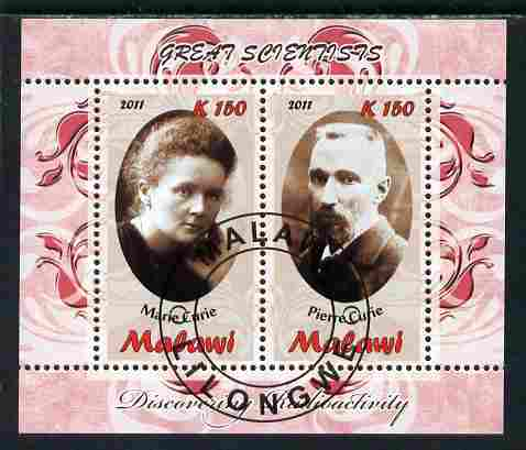 Malawi 2011 Scientists - Marie & Pierre Curie perf sheetlet containing 2 values cto used
