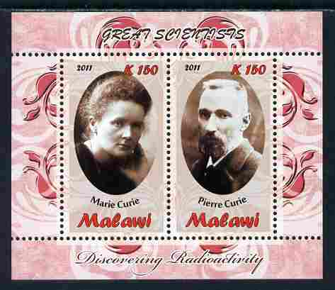 Malawi 2011 Scientists - Marie & Pierre Curie perf sheetlet containing 2 values unmounted mint