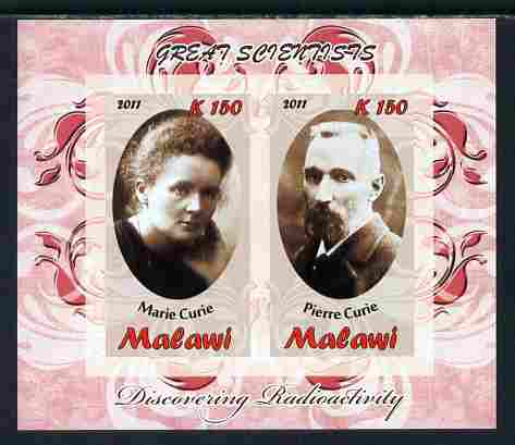 Malawi 2011 Scientists - Marie & Pierre Curie imperf sheetlet containing 2 values unmounted mint