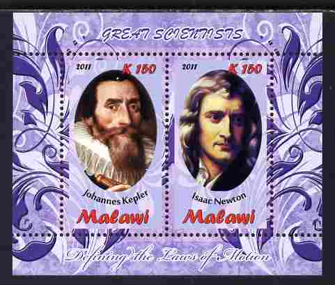 Malawi 2011 Scientists - Kepler & Newton perf sheetlet containing 2 values unmounted mint
