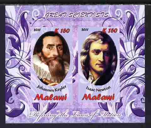 Malawi 2011 Scientists - Kepler & Newton imperf sheetlet containing 2 values unmounted mint