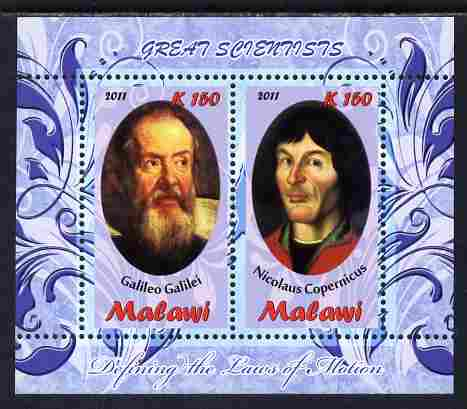 Malawi 2011 Scientists - Galilei & Copernicus perf sheetlet containing 2 values unmounted mint