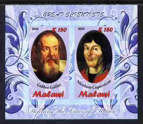 Malawi 2011 Scientists - Galilei & Copernicus imperf sheetlet containing 2 values unmounted mint, stamps on personalities, stamps on science, stamps on physics, stamps on astronomy, stamps on copernicus