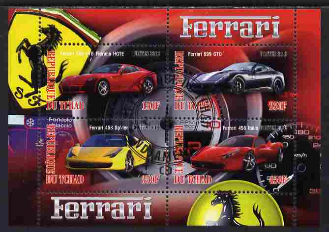 Chad 2012 Ferrari #2 perf sheetlet containing 4 values cto used