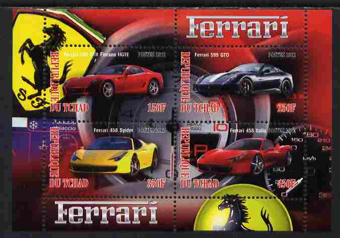 Chad 2012 Ferrari #2 perf sheetlet containing 4 values unmounted mint