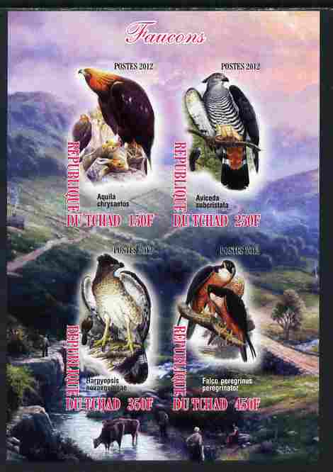 Chad 2012 Falcons imperf sheetlet containing 4 values unmounted mint
