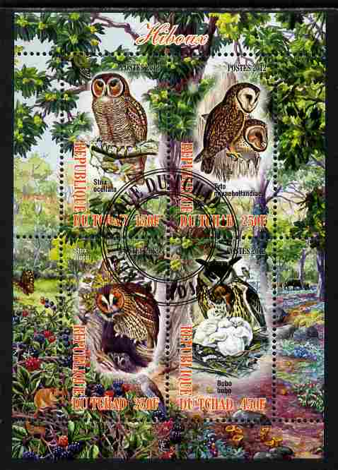 Chad 2012 Owls perf sheetlet containing 4 values cto used