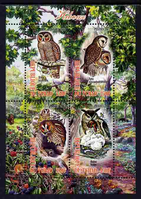 Chad 2012 Owls perf sheetlet containing 4 values unmounted mint