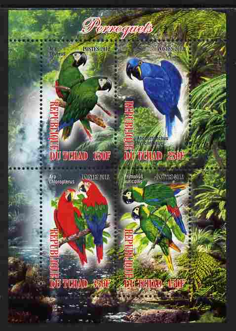 Chad 2012 Parrots perf sheetlet containing 4 values unmounted mint