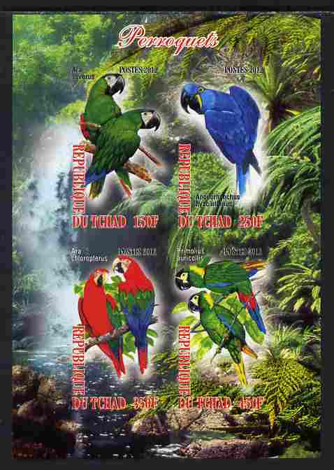 Chad 2012 Parrots imperf sheetlet containing 4 values unmounted mint