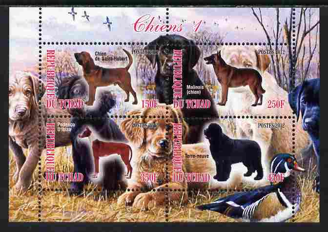 Chad 2012 Dogs #1 perf sheetlet containing 4 values unmounted mint