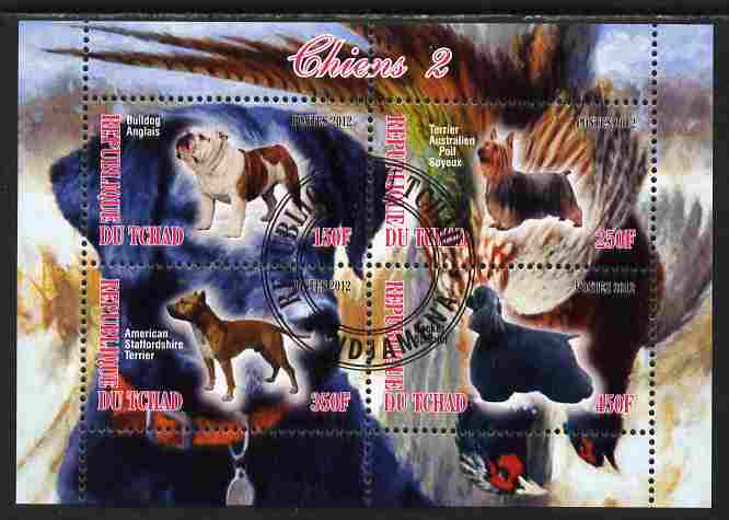 Chad 2012 Dogs #2 perf sheetlet containing 4 values cto used