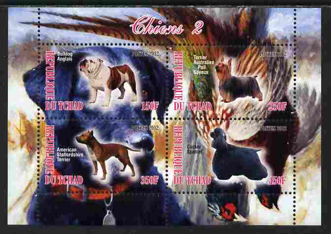 Chad 2012 Dogs #2 perf sheetlet containing 4 values unmounted mint