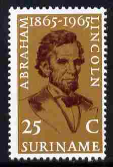 Surinam 1965 Death Centenary of Abraham Lincoln 25c unmounted mint, SG 548