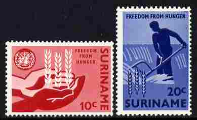 Surinam 1963 Freedom From Hunger set of 2 unmounted mint, SG 518-19