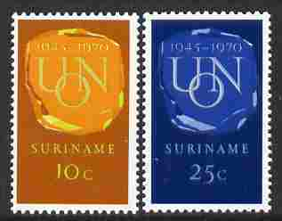 Surinam 1970 25th Anniversary of United Nations set of 2 unmounted mint, SG 674-75