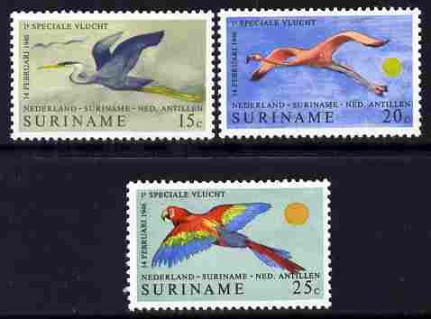 Surinam 1971 25th Anniversary of Air Service set of 3 unmounted mint, SG 689-91