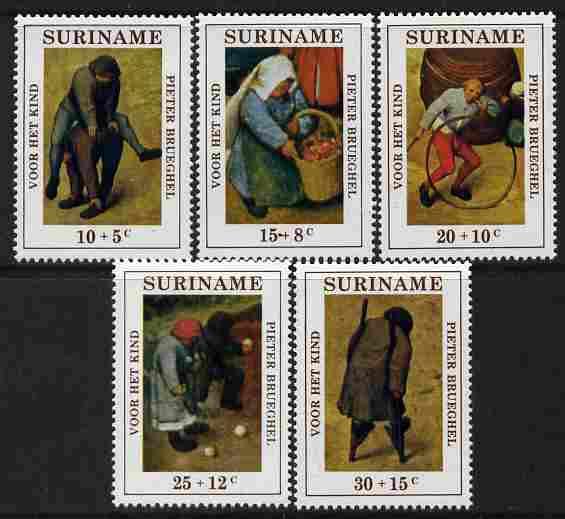 Surinam 1971 Child Welfare - Brueghel Paintings set of 5 unmounted mint, SG 704-8