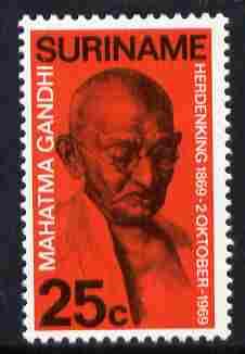 Surinam 1969 Birth Centenary of Mahatma Gandhi 25c unmounted mint, SG 703