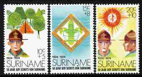Surinam 1974 50 Years of Scouting set of 3 unmounted mint, SG 776-8