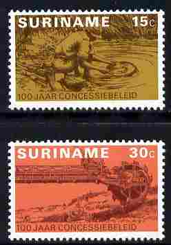 Surinam 1975 Centenary of Prospecting Concession set of 2 unmounted mint, SG 787-88