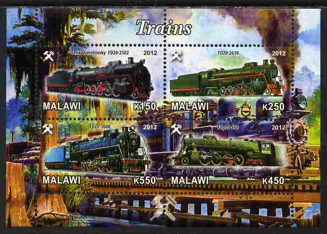 Malawi 2012 Steam Locomotives #01 perf sheetlet containing 4 values unmounted mint
