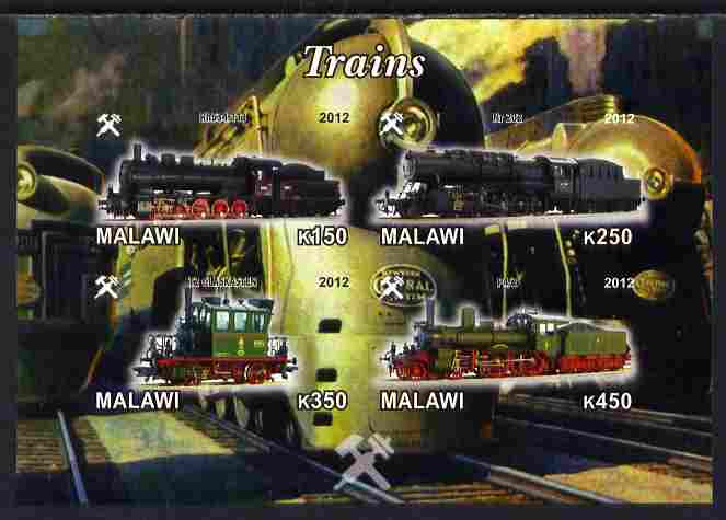 Malawi 2012 Steam Locomotives #02 imperf sheetlet containing 4 values unmounted mint
