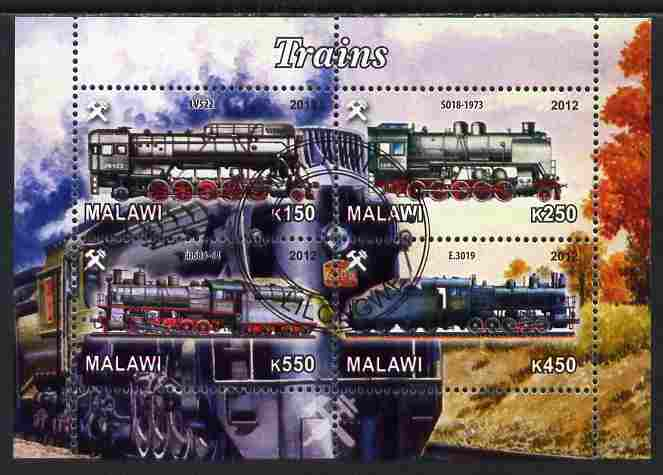 Malawi 2012 Steam Locomotives #04 perf sheetlet containing 4 values cto used